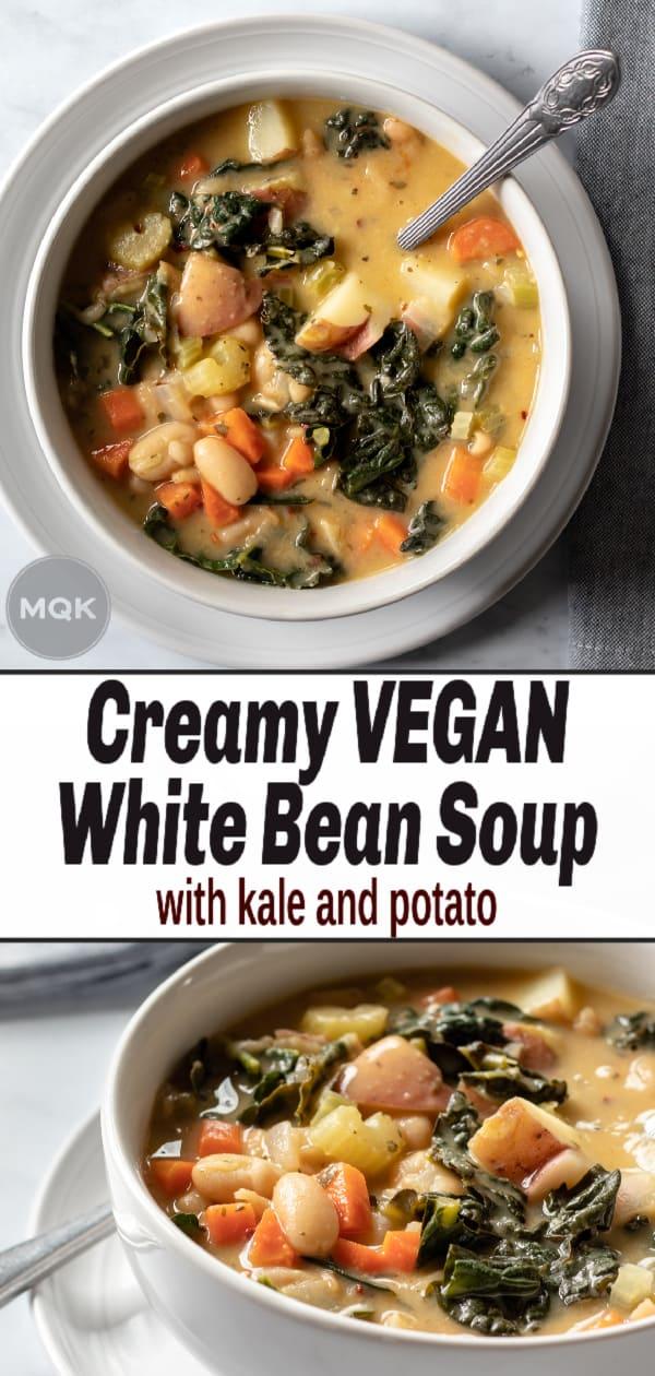 Vegan White Bean Soup pin for Pinterest