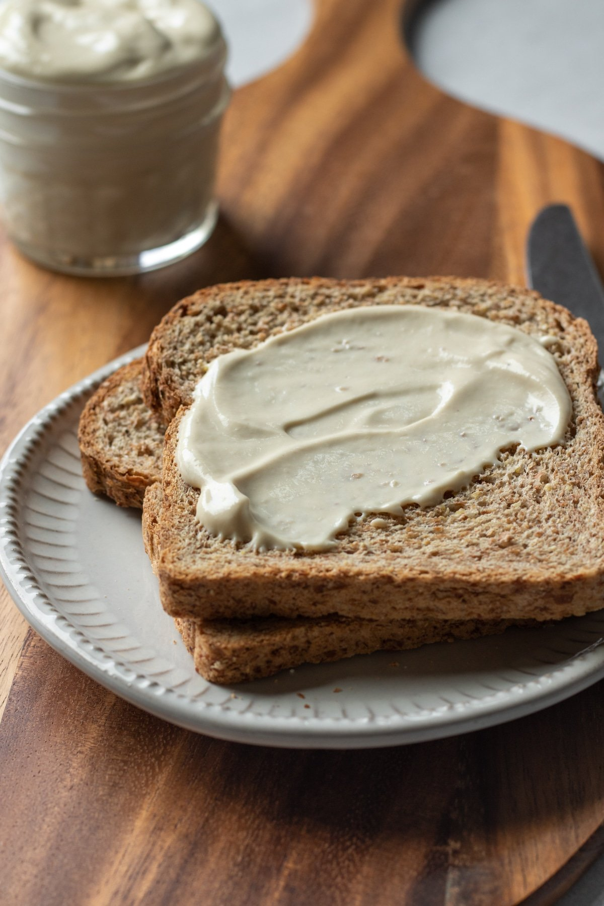 homemade aquafaba mayo spread on bread.