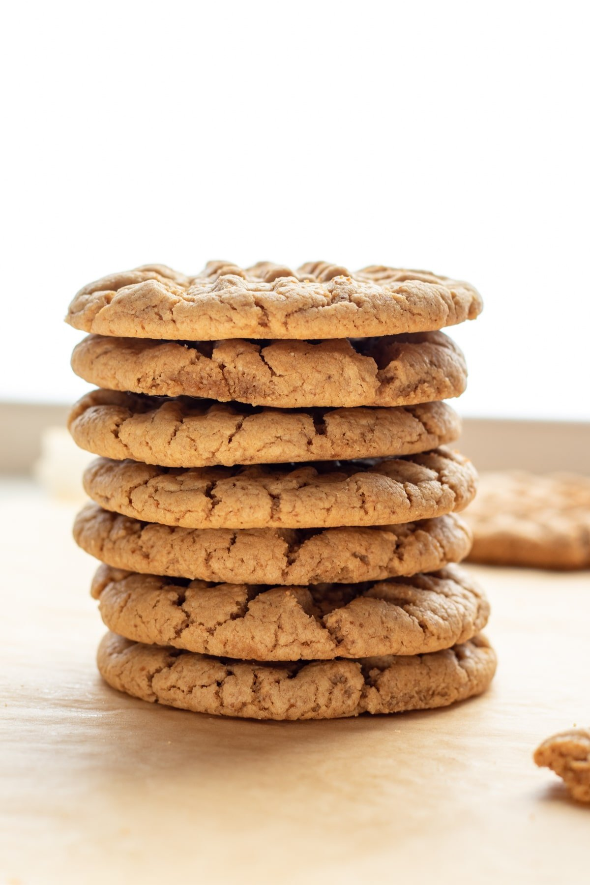 a stack of 7 peanut butter cookies