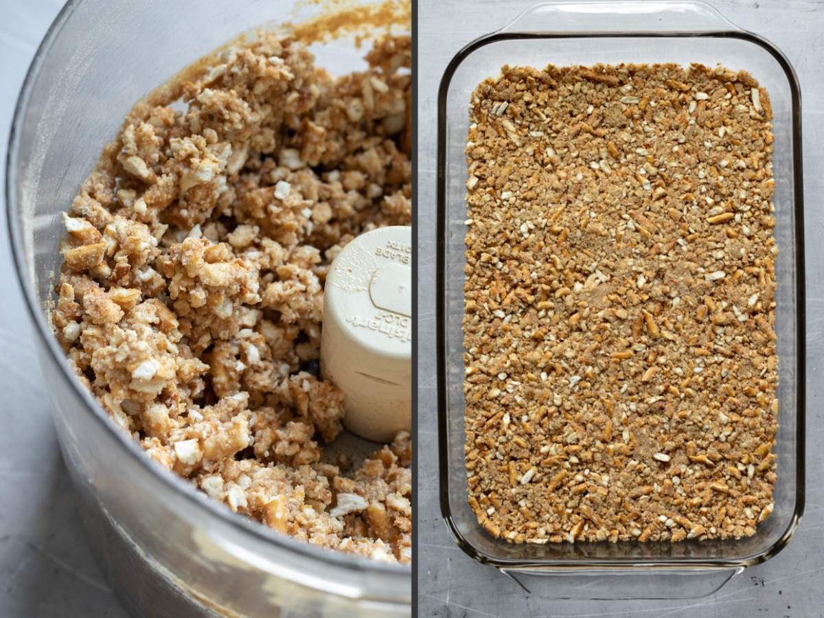 a 2-photo collage showing the texture of the pretzel crust mixture
