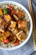 overhead close up of sweet and sour tofu in bowl
