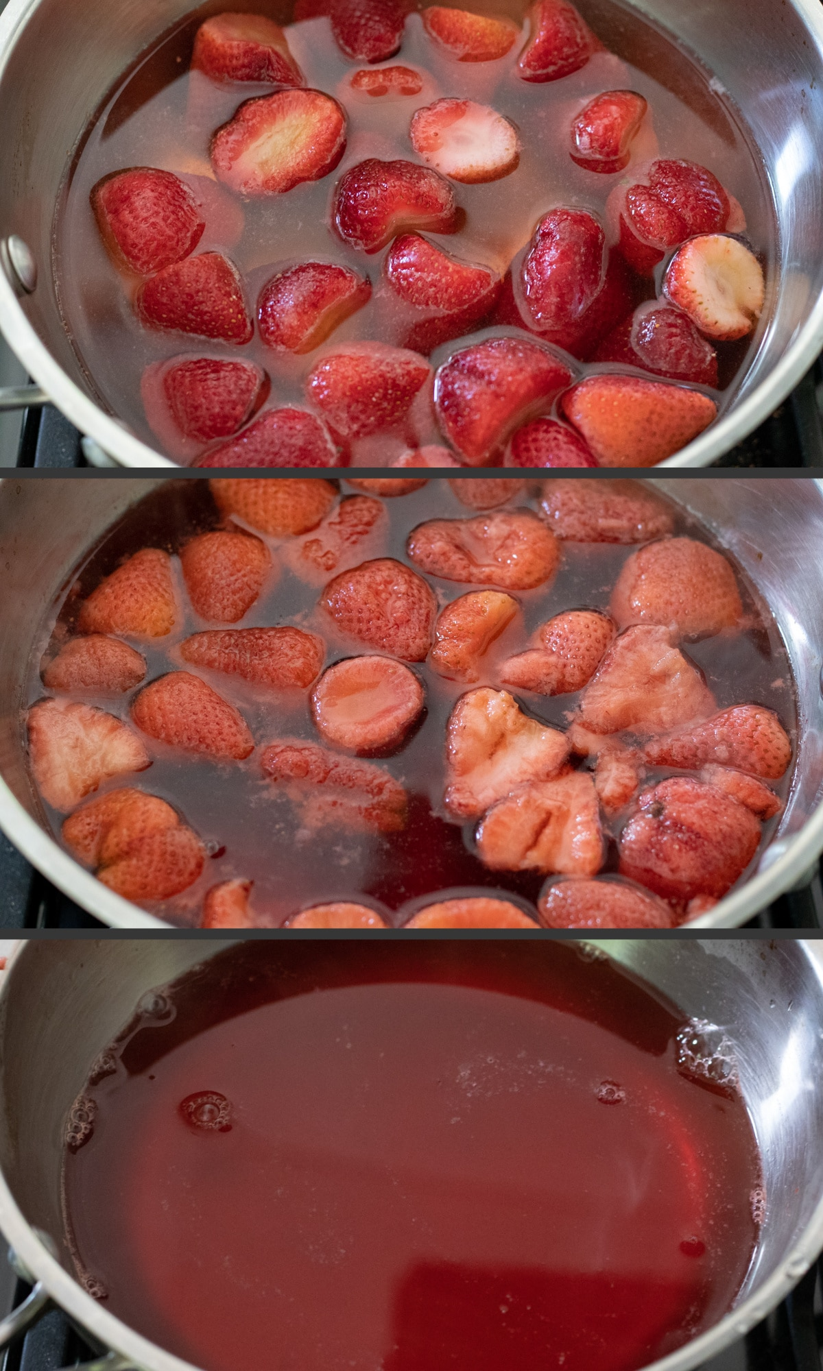 3-photo collage showing the making of homemade vegan jell-o