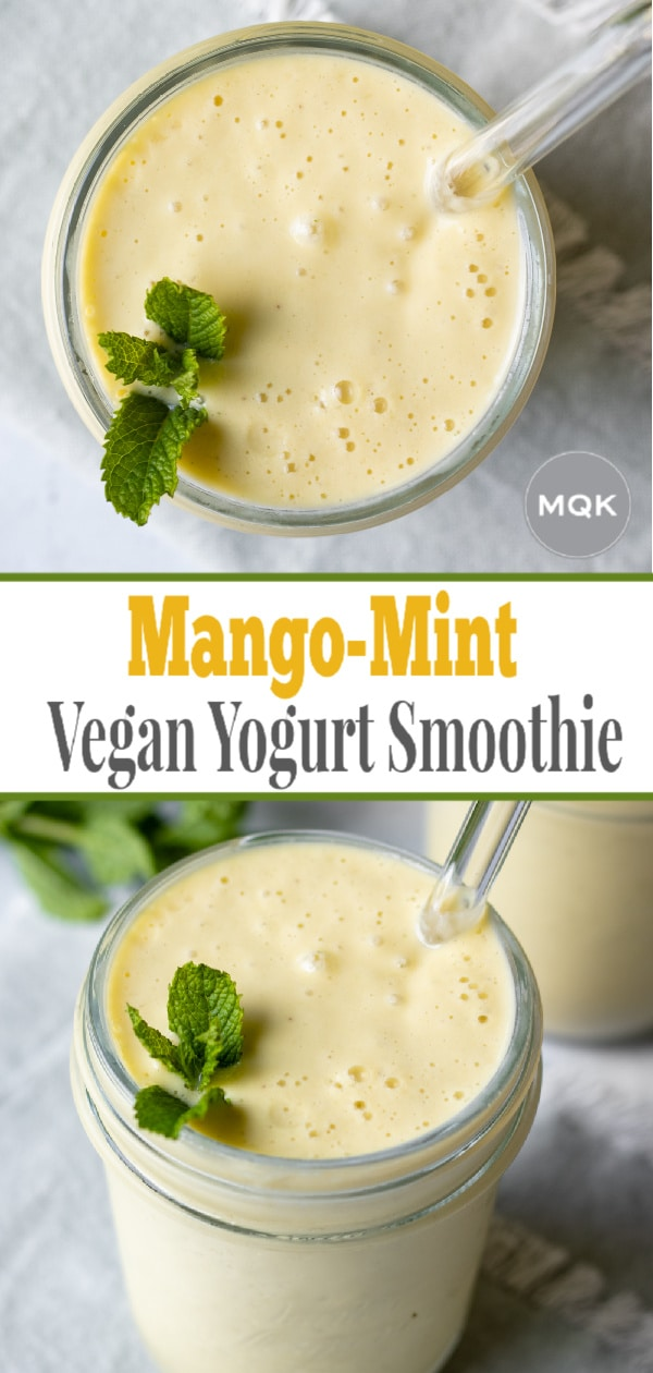 pin for Pinterest with two photos of mango smoothie