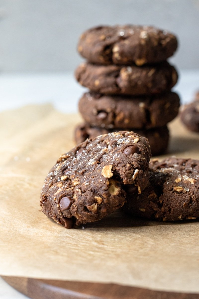 close up of thick protein cookie