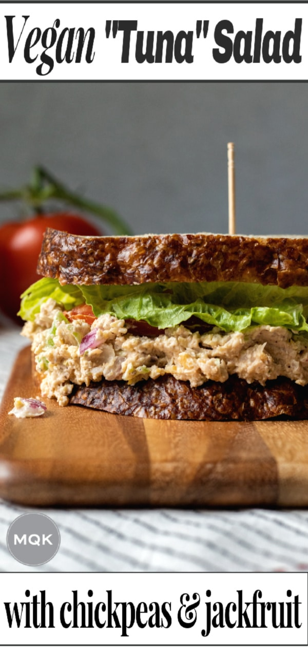 photo of chickpea tuna salad sandwich on a pin for Pinterest