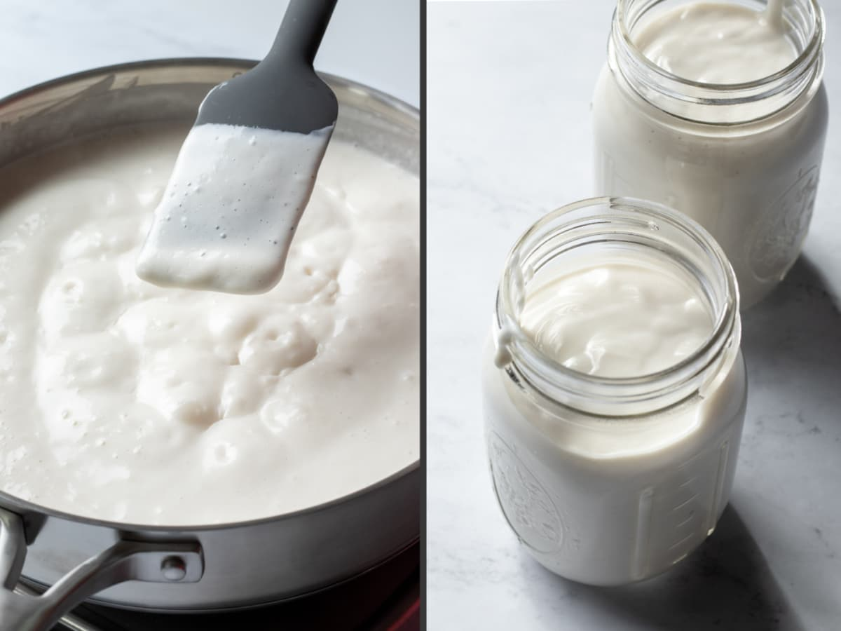 2-photo collage showing thickness of yogurt mixture after simmering, then poured into 2 pint jars