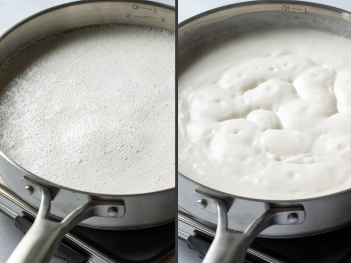 a 2-photo collage showing the change in thickness after simmering the cashew milk