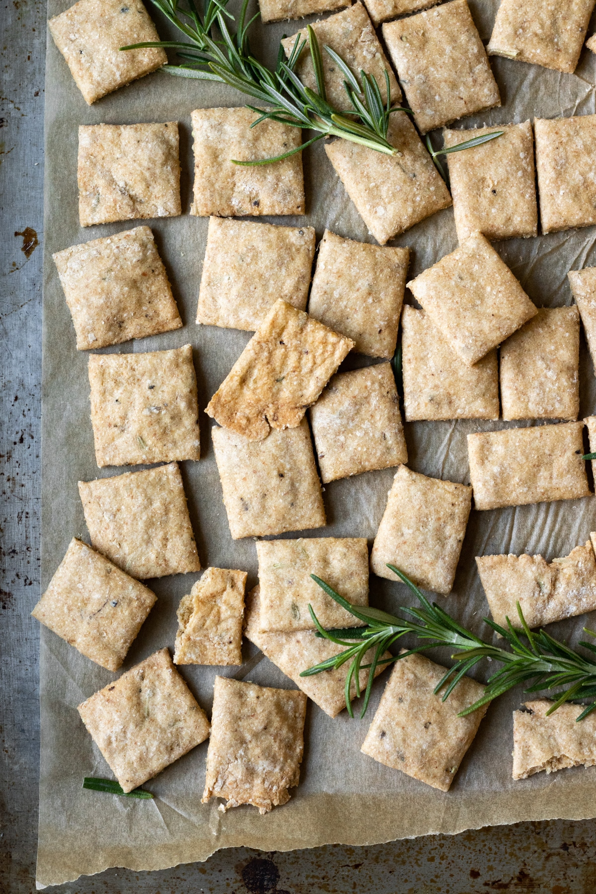overhead view of square crackers on a baking sheet