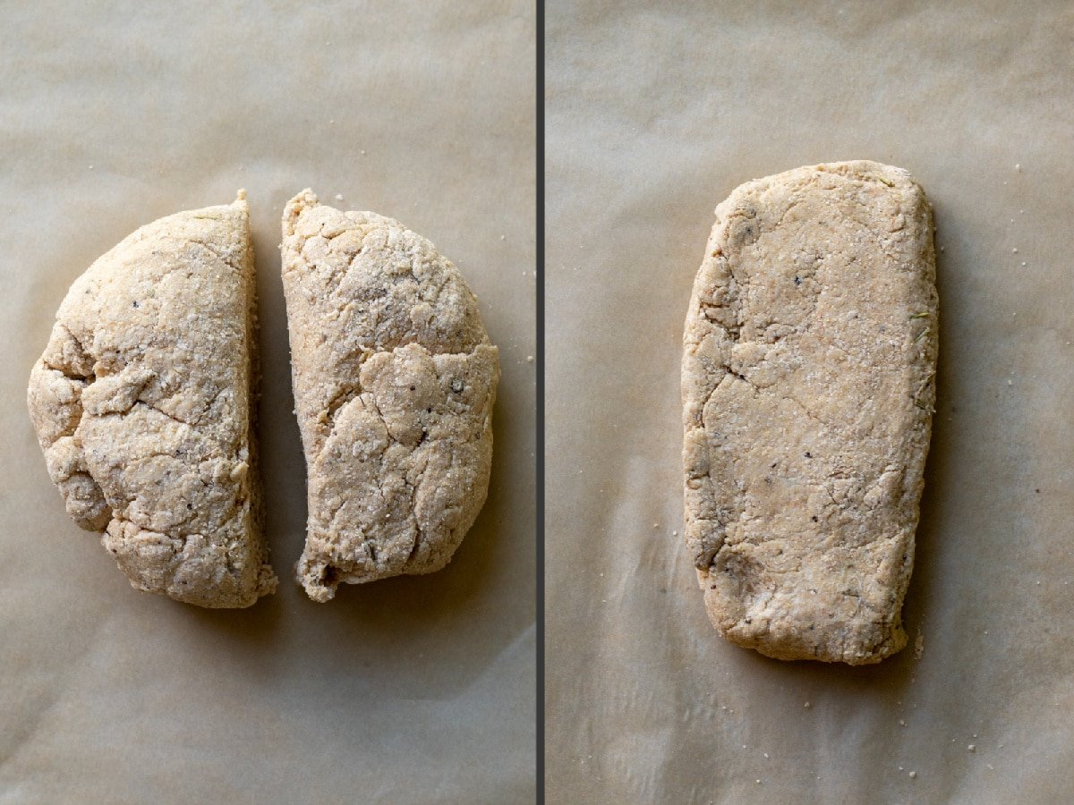 two photos showing the cracker dough cut into two pieces