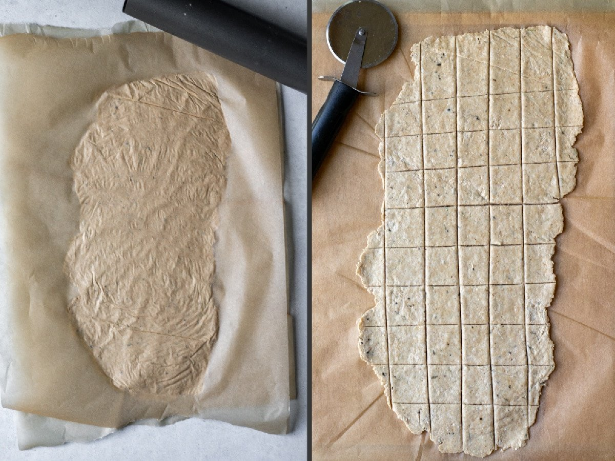 rolling out the dough between two pieces or parchment paper