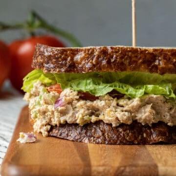 close up of vegan tuna sandwich to show texture.