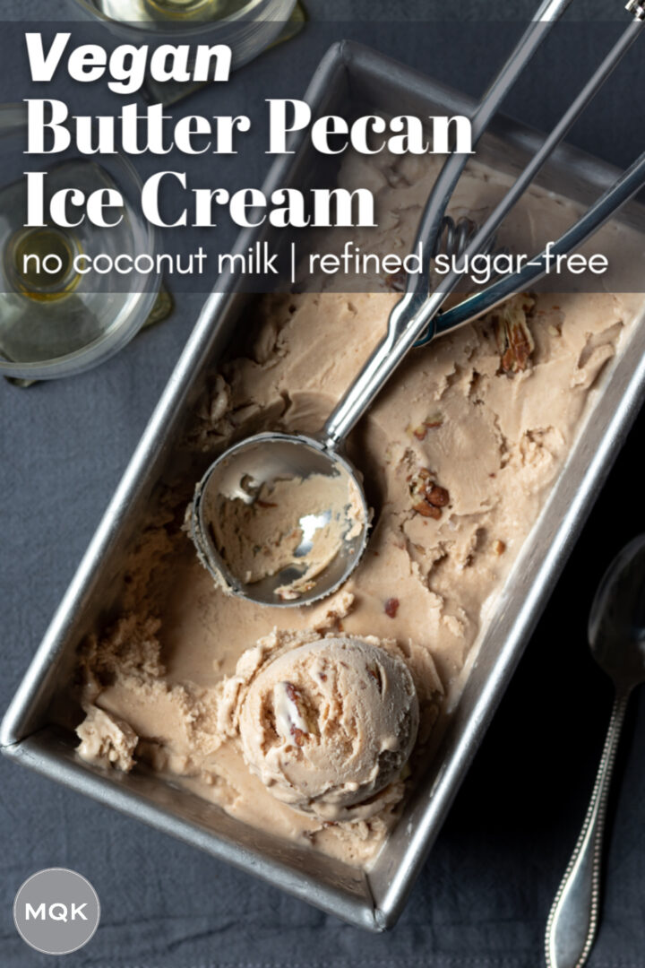 pin for Pinterest with overhead shot of ice cream frozen in a loaf pan