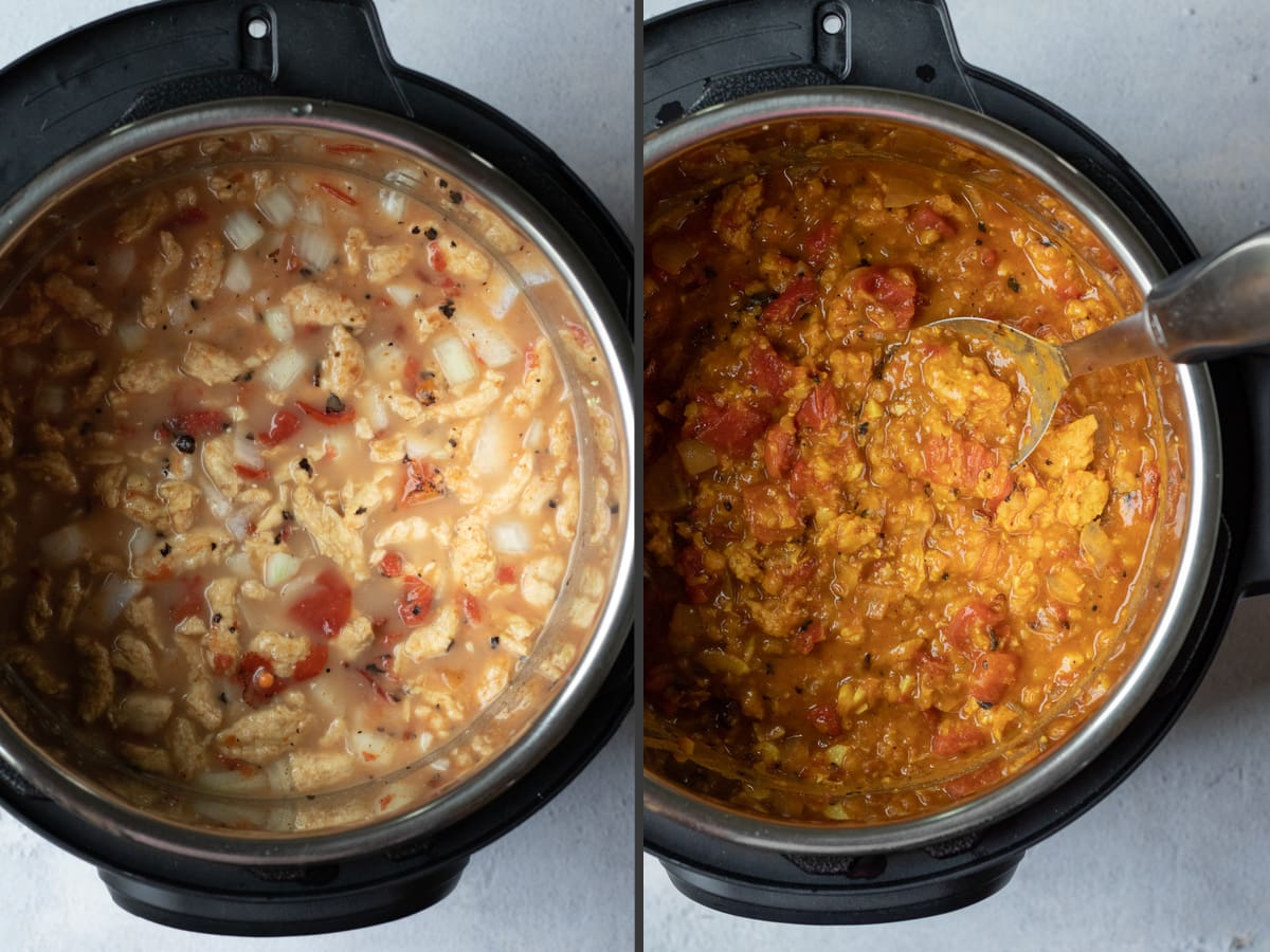2 photo collage showing ingredients in Instant Pot, then cooked dish