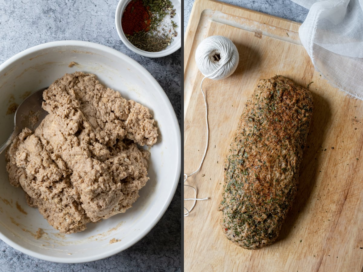 2 photo collage showing texture of dough then kneaded and shaped loaf