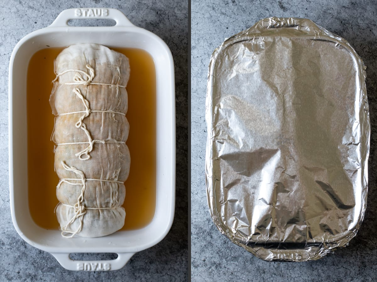 2 photos showing roast wrapped in cheese cloth sitting in broth, then pan covered with foil