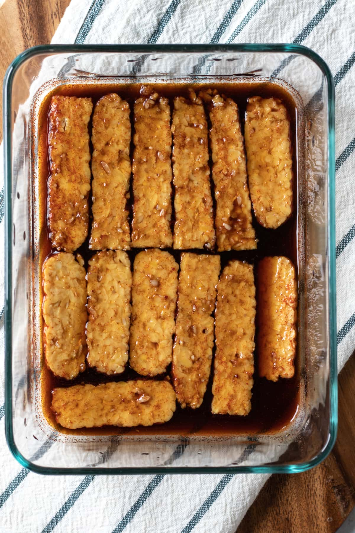 marinating tempeh in smoky/sweet mixture