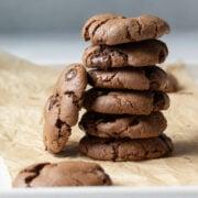 big stack of chocolate cookies