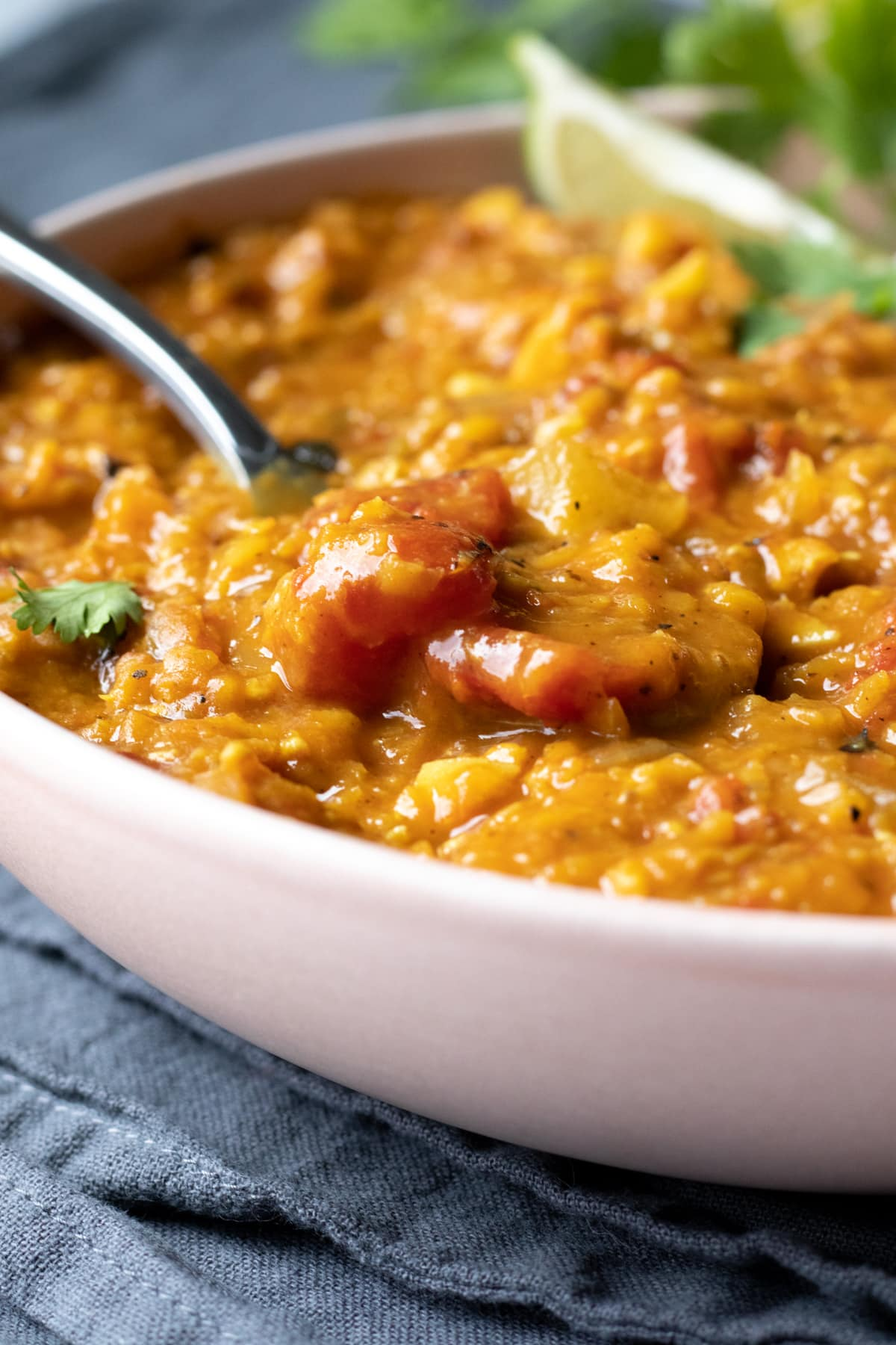 close up of lentil curry in a bowl