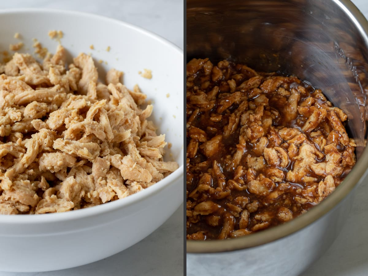 2-photo collage showing soaked soy curls and in Instant Pot with sauce