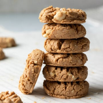 close up of a tall stack of cookies