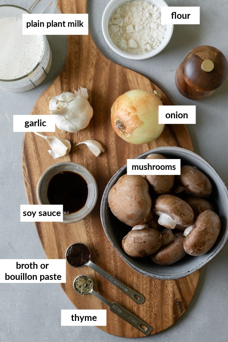 labeled image of the 8 ingredients laid out on a board