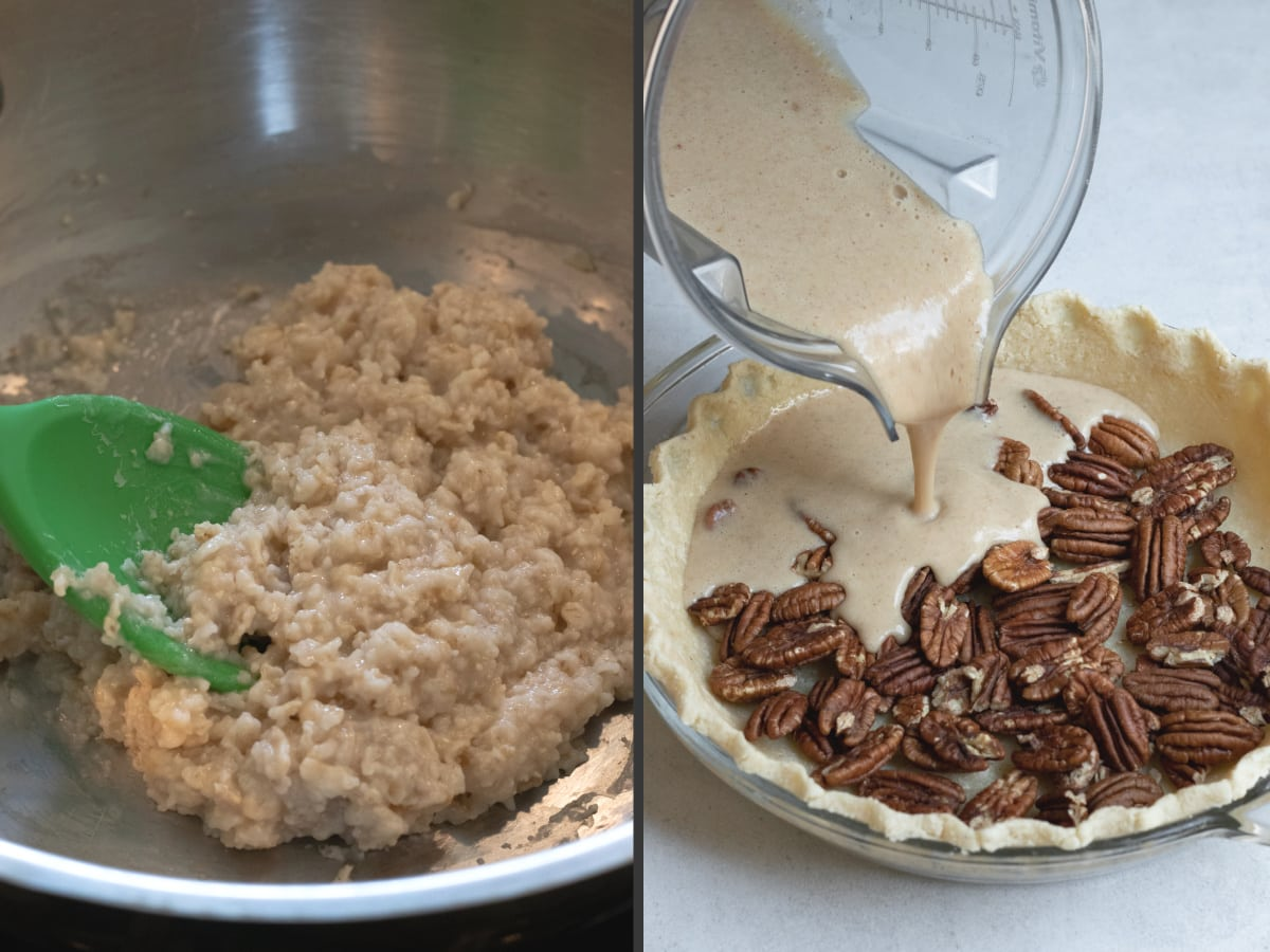 a two-photo collage showing texture of oatmeal after cooking and pouring blended filling into crust