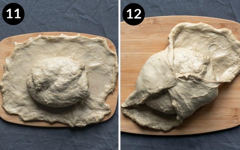 wrapping the seitan skin around the roast