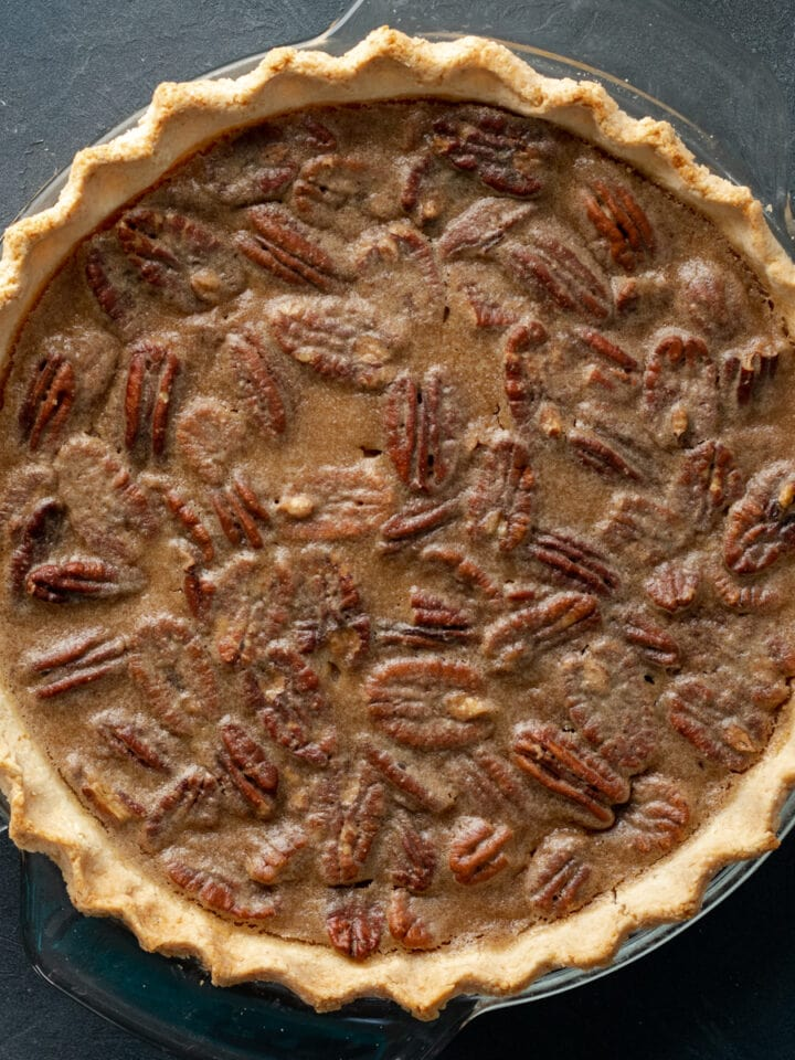 close up overhead shot of whole pie