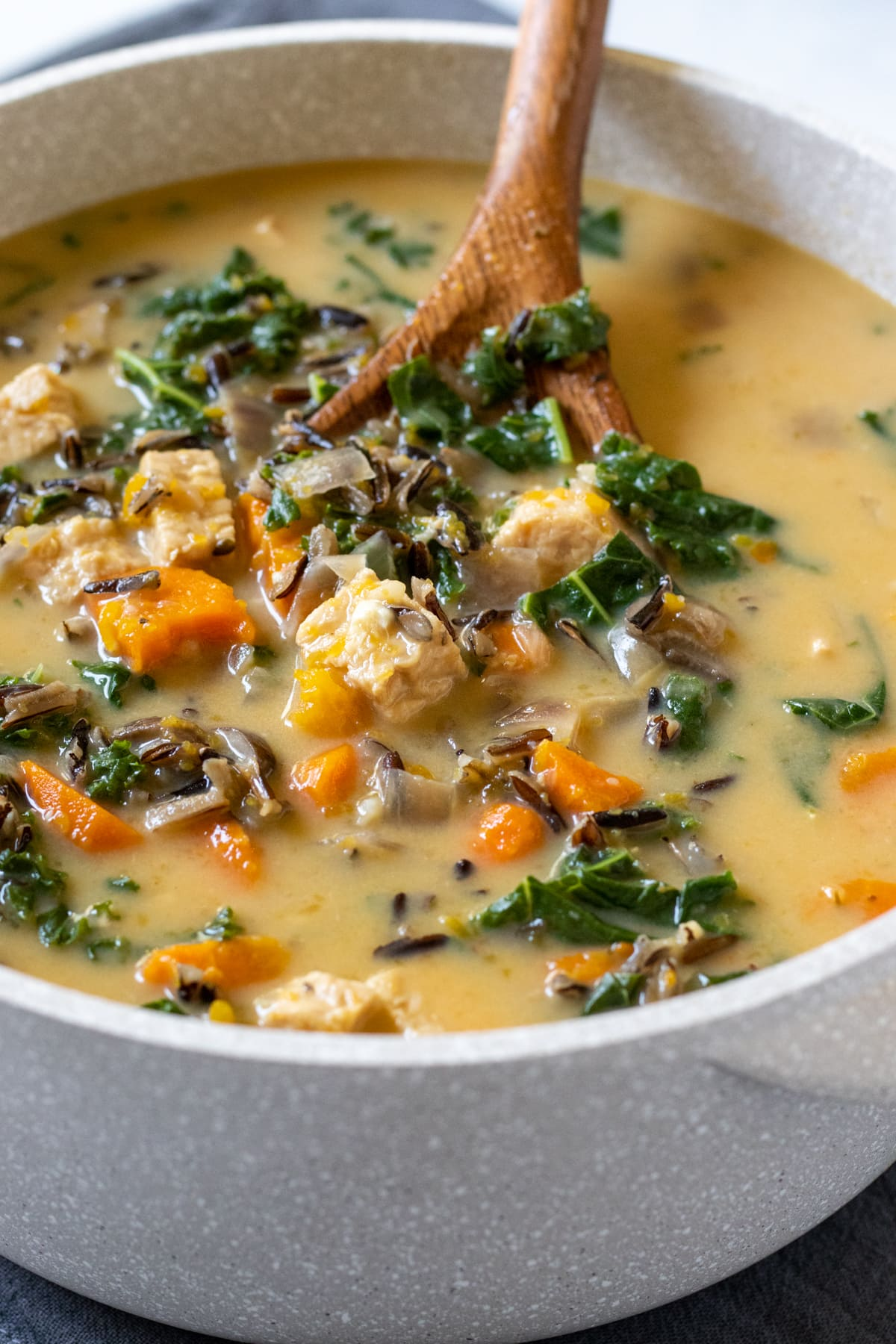 colorful soup with kale, squash, carrots, and wild rice in a pot