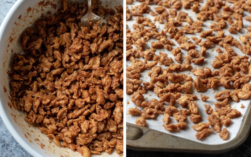 coating the soy curls in smoky sauce then spread on a baking sheet
