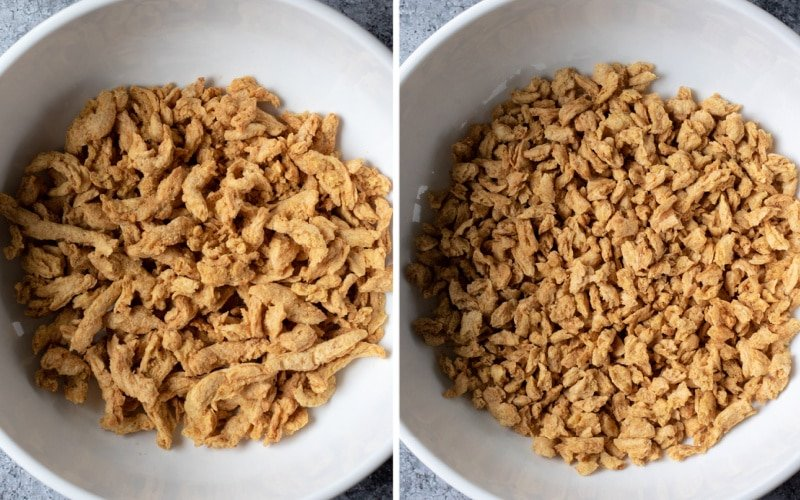 two photos showing soy curls before and after breaking into smaller pieces