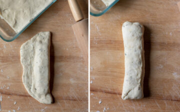 folding dough over cheese to stuff the breadsticks