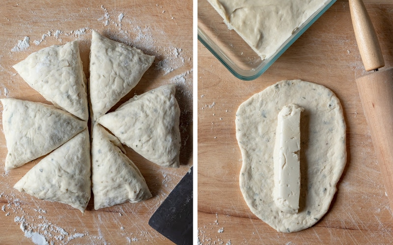 dividing dough into 6 equal portions and filling with set cashew cheese