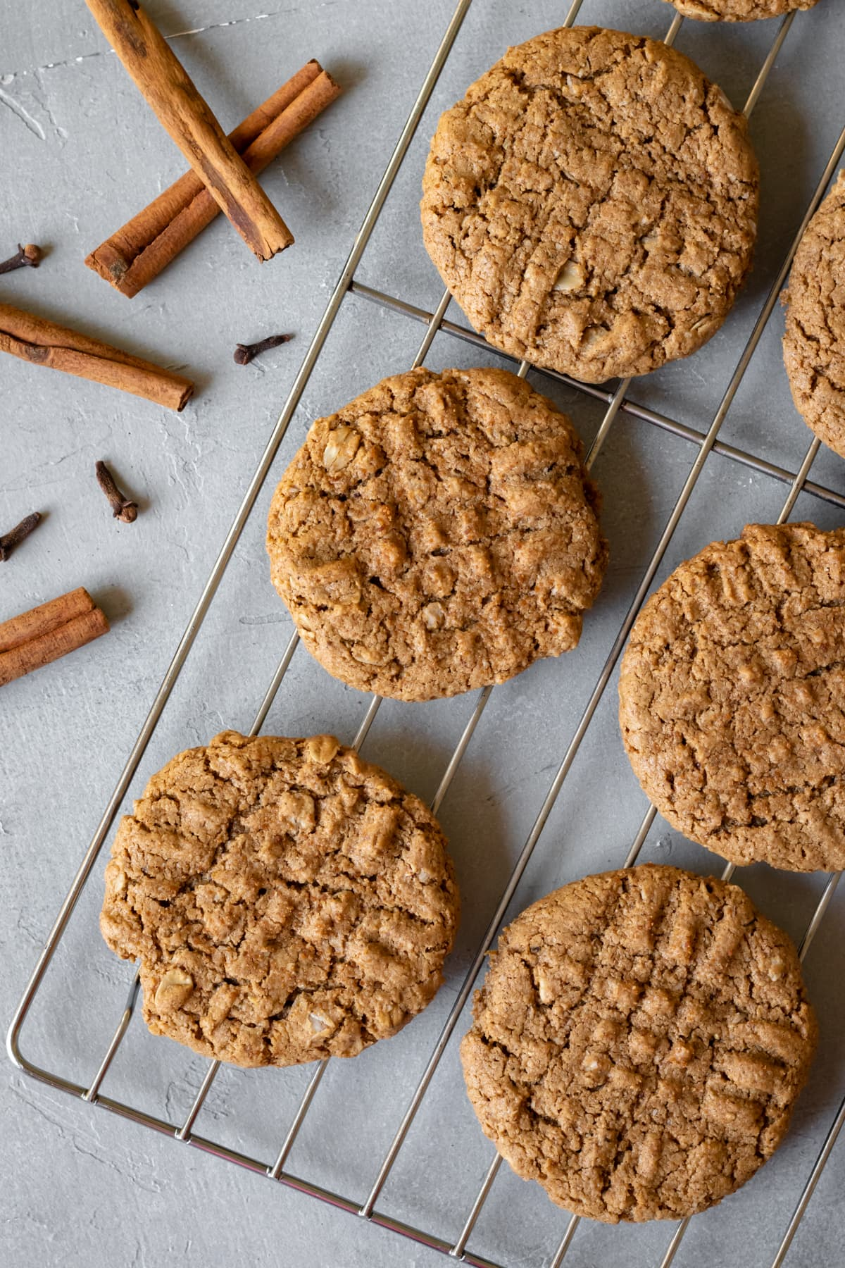 spicy oatmeal cookies cooling on a rack