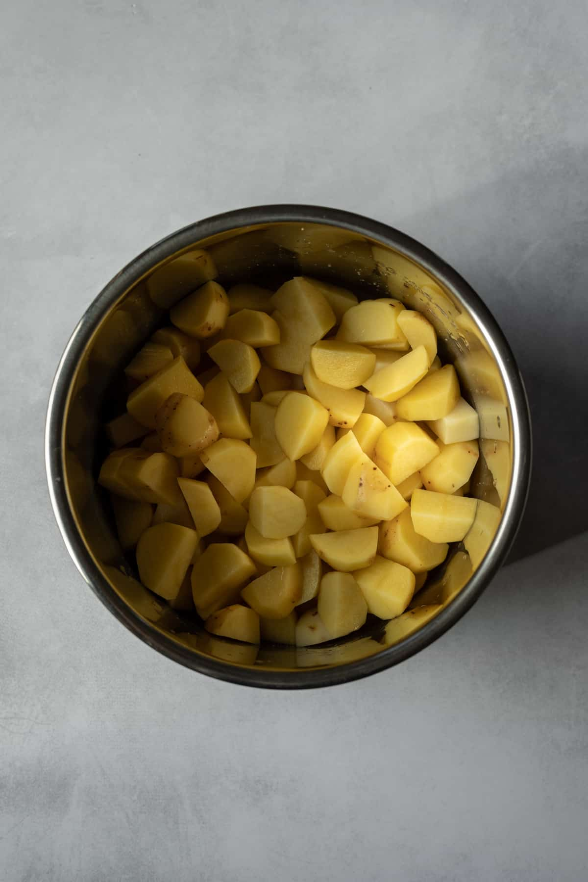 peeled and cut Yukon gold potatoes in an Instant Pot insert