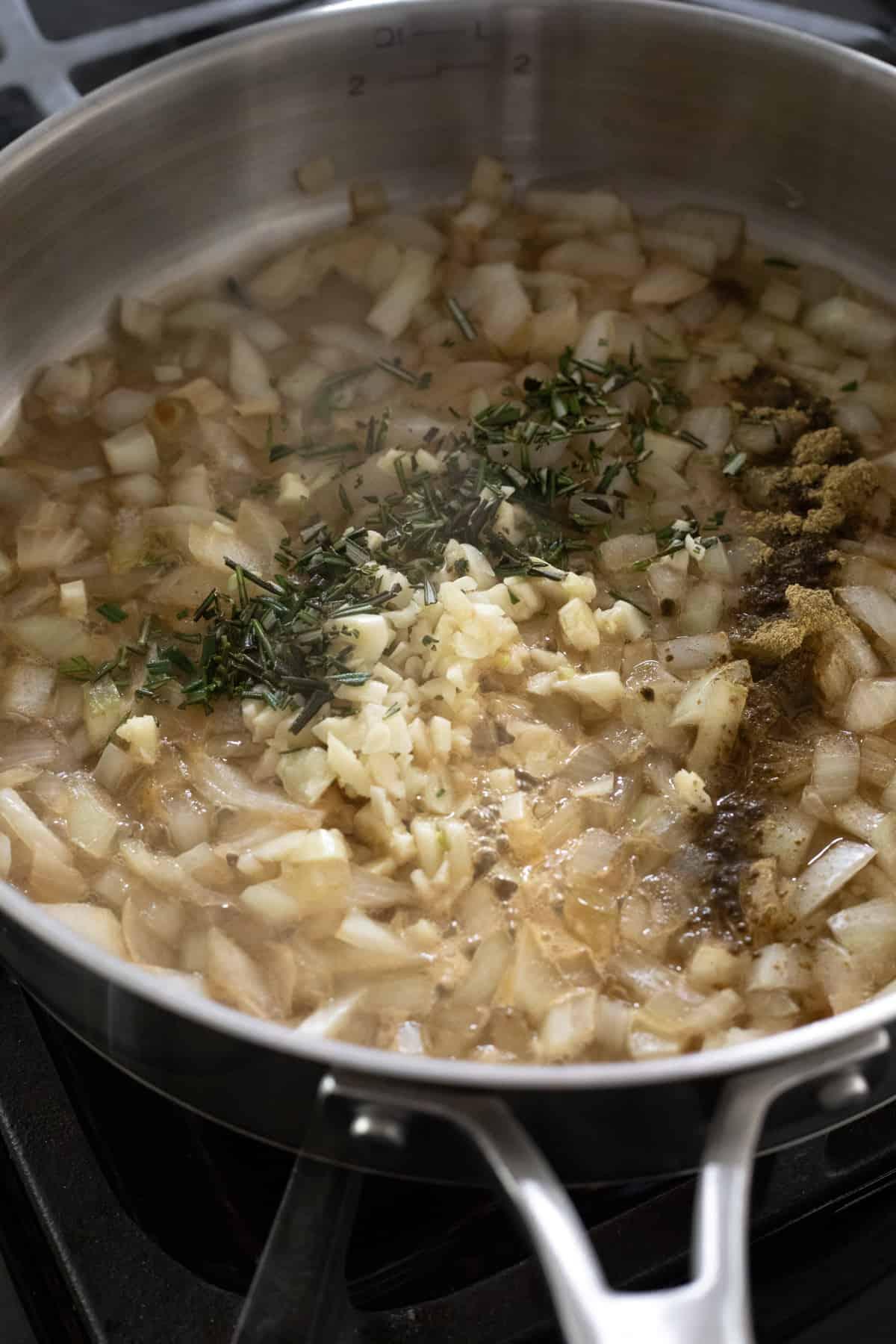 sautéing onion, garlic and herbs