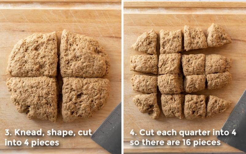 2 photos showing cutting the seitan dough into 16 equal pieces