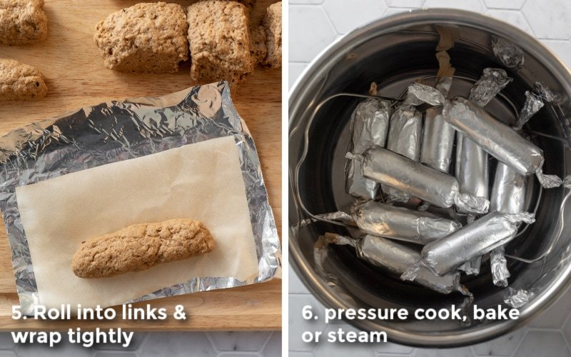 wrapping sausages in parchment and foil for cooking.