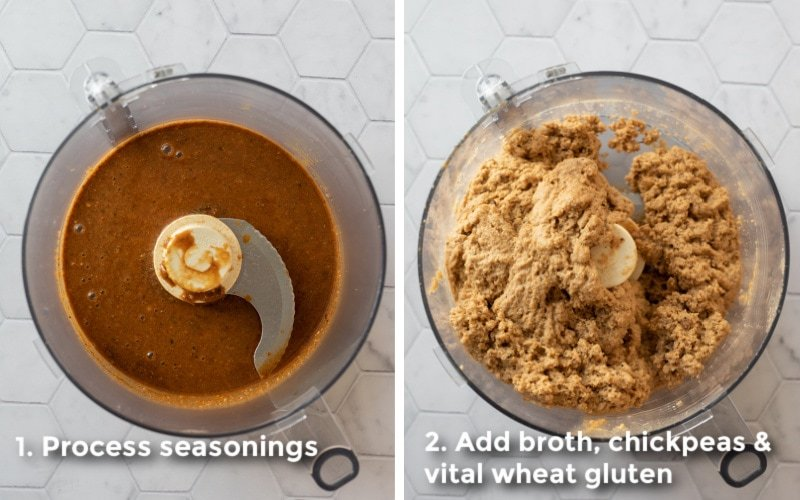 a 2-photo collage showing adding ingredients to food processor