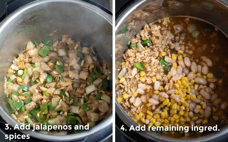 adding remaining ingredients to pot before simmering