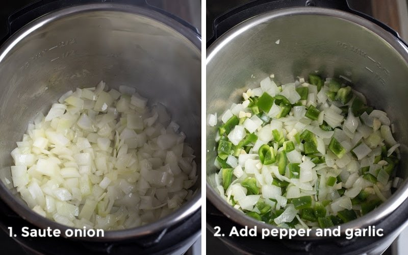 two photos showing sautéing onion and peppers