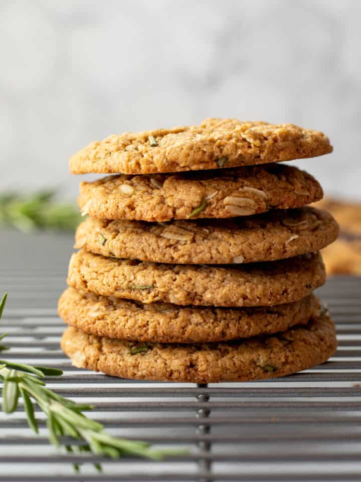 stack of oil-free rosemary cookies
