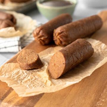 close up of meaty vegan sausage texture