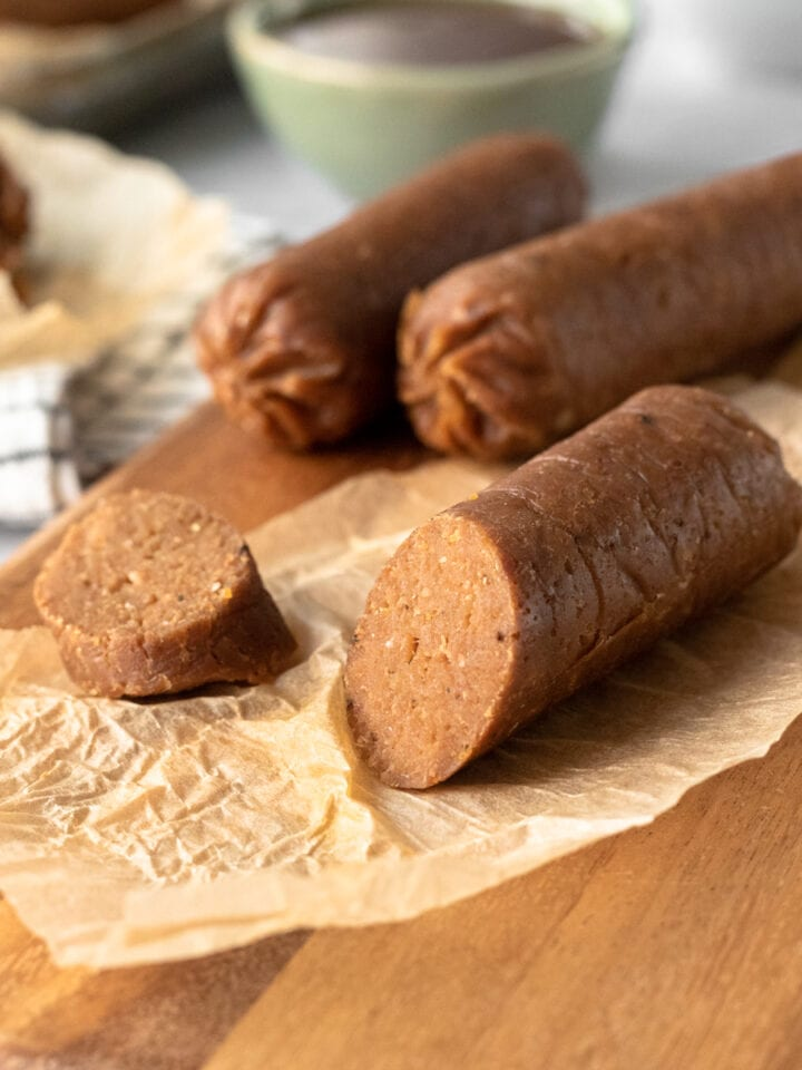 close up of meaty vegan sausage texture