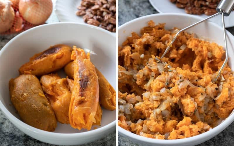 2 photos showing mashing sweet potatoes and adding ingredients
