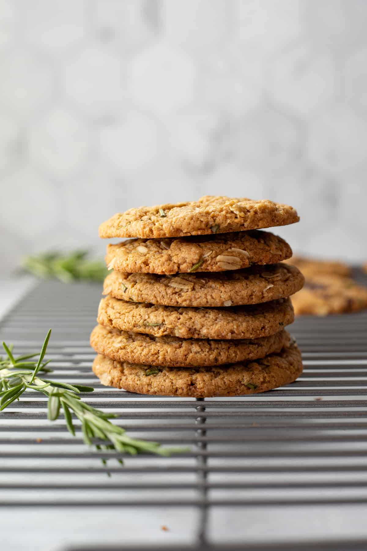 a stack of cookies on a cooling rack