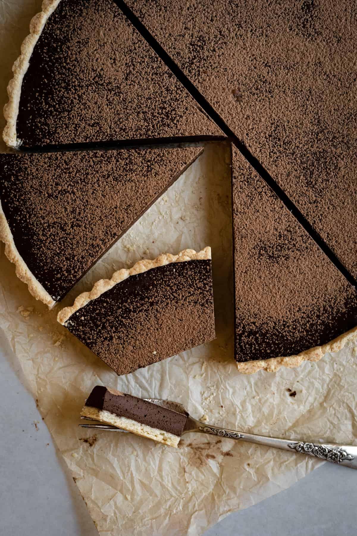 photo of a dark chocolate tart