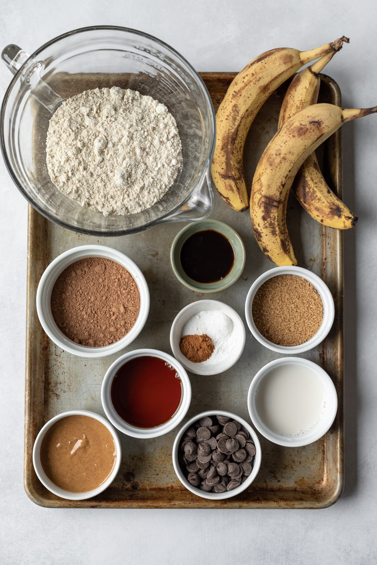 all ingredients laid out on a large baking sheet