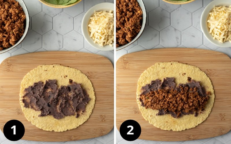 2 photos showing layering in beans and vegan taco meat