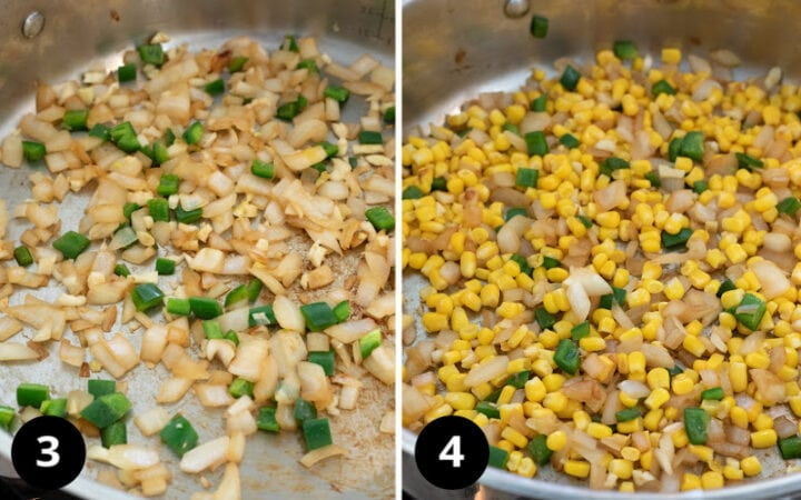 a 2-photo collage showing first steps of cooking vegetables